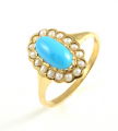 9ct Gold Turquoise and Pearl Cluster Ring