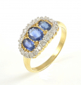 9ct Gold Sapphire and Diamond Triple Cluster Ring