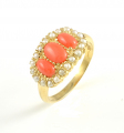 9ct Gold Coral and Pearl Triple Cluster Ring