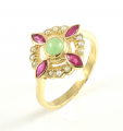 9ct Gold Jade, Ruby and Pearl Cluster Ring