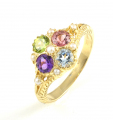 9ct Gold Amethyst, Peridot, Pink Tourmaline, Blue Topaz and Pearl Cluster Ring