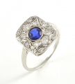 18ct White Gold Sapphire and Diamond Plaque Ring