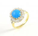 18ct Gold Antique Turquoise and Diamond Cluster Ring