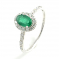 9ct White Gold Emerald and Diamond Cluster Ring