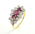 18ct Gold Triple Ruby and Diamond Cluster Ring