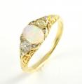 18ct Gold Antique Opal and Diamond Ring