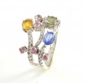 18ct White Gold Multicoloured Sapphire and Diamond Three Row Ring