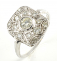"18ct White Gold ""Deco"" Style Diamond Custer Ring"