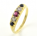 18ct Gold Ruby, Diamond and Sapphire Five Stone Ring