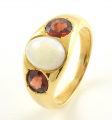 18ct Gold Opal and Garnet Three Stone Ring