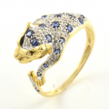 18ct Gold Sapphire, Diamond and Emerald Panther Ring