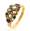 15ct Gold Antique Pearl, Emerald and Ruby Cluster Ring