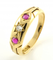 18ct Gold Ruby and Diamond Three Stone Band