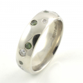 Platinum Green and White Diamond Band
