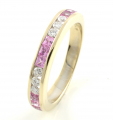 18ct White Gold Pink Sapphire and Diamond Half Eternity