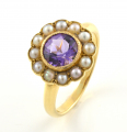 18ct Gold Amethyst and Pearl Cluster Ring