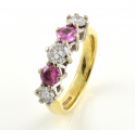 18ct Gold Pink Sapphire and Diamond Five Stone Ring