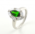 9ct White Gold Green and White Stone Cluster Ring
