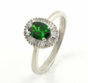 Platinum Green Garnet and Diamond Cluster Ring