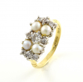 18ct Gold Old Cut Diamond and Pearl Cluster Ring