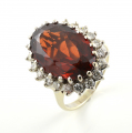 18ct White Gold Garnet and Diamond Cluster Ring