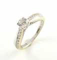 18ct White Gold Diamond Ring with Diamond Twist Shoulders