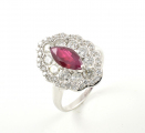 18ct White Gold Ruby and Diamond Marquise Shaped Cluster Ring