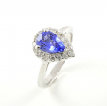 9ct White Gold Tanzanite and Diamond Cluster Ring