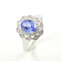 Platinum Tanzanite and Diamond Cluster Ring