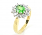 18ct Gold Tsavorite and Diamond Cluster Ring