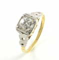 18ct Gold and Platinum Old Cut Diamond Ring