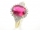 9ct Gold Pink Tourmaline and Diamond Cluster Ring