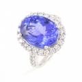 18ct White Gold Tanzanite and Diamond Cluster Ring