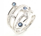 18ct White Gold Sapphire and Diamond Five Row Ring