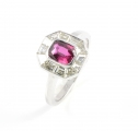 Platinum Ruby and Diamond Cluster Ring