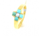 18ct Gold Turquoise and Pearl Cross Ring