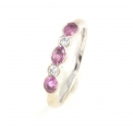 18ct White Gold Pink Sapphire and Diamond Five Stone Ring