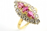 18ct Gold Ruby and Diamond Marquise Cluster Ring