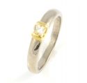 18ct White and Yellow Gold Diamond Single Stone Ring