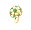 9ct Gold Emerald and Pearl Cluster Ring
