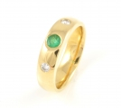 18ct Gold Emerald and Diamond Band