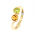 9ct Gold Citrine and Peridot Twist Ring