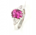18ct White Gold Pink Tourmaline and Diamond Three Stone Ring