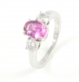 18ct White Gold Pink Sapphire and Diamond Three Stone Ring