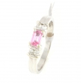 9ct White Gold Pink Sapphire and Diamond Five Stone Ring