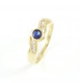 9ct Gold Sapphire and Diamond Twist Ring