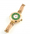 9ct Rose Gold Green Enamel Watch